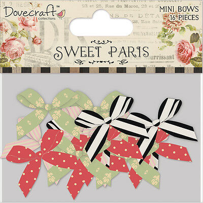 Dovecraft Sweet Paris Mini Pearl Center Satin Bows 16/Pkg  DCMB004