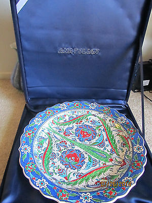 Rare Fine Art  Turkish Artist Super Large China Plate with Artist Signature