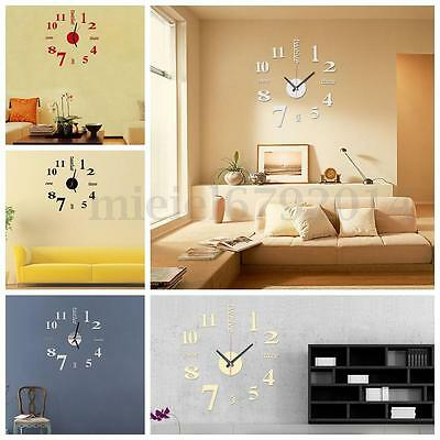 3D DIY Wall Clock Mini Modern Sticker Design Livingroom Home Office Room Decor