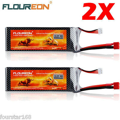 2X FLOUREON 11.1V 5500mAh 3S 35C Lipo Battery for RC Helicopter Hobby Deans Plug