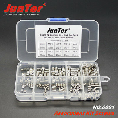 200pcs M3/4/5/6/8mm A2 Stainless Steel Cup Point Hex Socket Set Grub Screws 6001