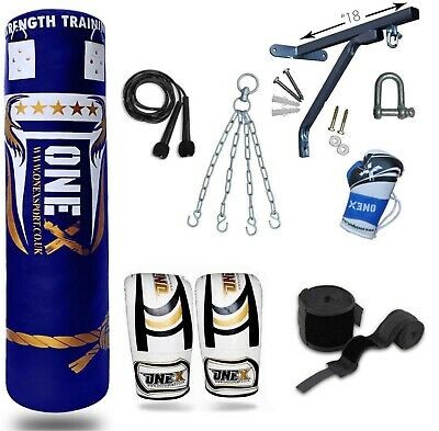 4ft/5ft Filled Heavy Punch Bag Professional Set,Chains,Bracket,Gloves,MMA Fight