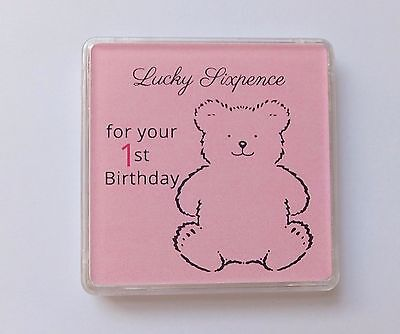 BABY GIRL First 1st Birthday LUCKY SIXPENCE KEEPSAKE Coin Capsule Box Gift