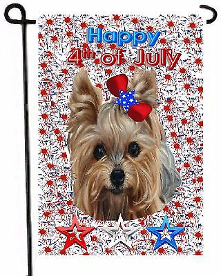 YORKIE painting GARDEN FLAG Dog ART 4th of July Independence Day Yorkshire