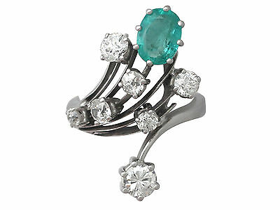 Vintage 1.29 ct Emerald and 2.02 ct Diamond, 18k White Gold Dress Ring