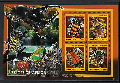 Sierra Leone 2013 MNH Insects of Africa 4v M/S Beetles Analeptes Hecphora Stamps