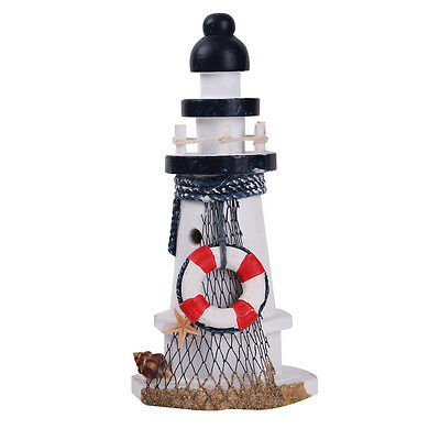 Nautical Decor Wood Lighthouse Tower Desk Decor Starfish ShellNet Lifebouy #C