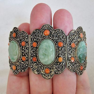 "Antique Chinese Metal Bracelet with Coral & 3 Green Jadeite Jade  (6.5"" long)"