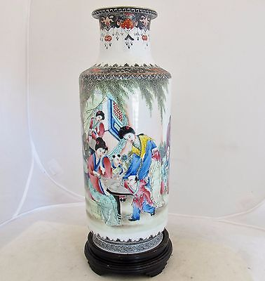 "12.7"" Antique Chinese Famille Rose Thin Porcelain Vase w/ Ladies & Qianlong Mark"