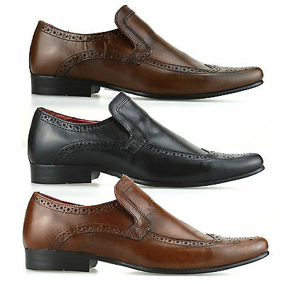 Mens New Real Leather Casual Formal Smart Slip On Loafers Work Brogue Shoes Size
