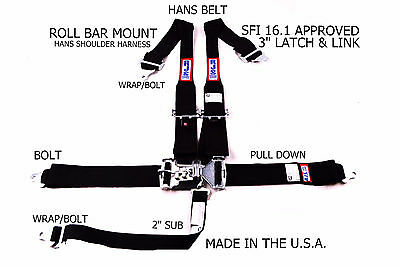 Rjs Racing Sfi 16.1 5Pt Hans Latch & Link Roll Bar Mount Belt Black 1142201