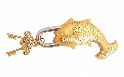 Brass Old Vintage Style Antique Big Fish Design Lock with 2 Keys for Home Decore