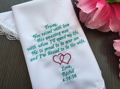 Personalized Wedding Handkerchief For Mother Of Groom From Daughter In Law /1130