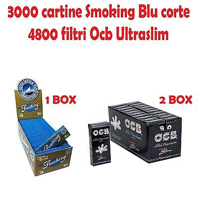 3000 Cartine Smoking Blu Corte + 4800 Filtri Ocb Ultraslim