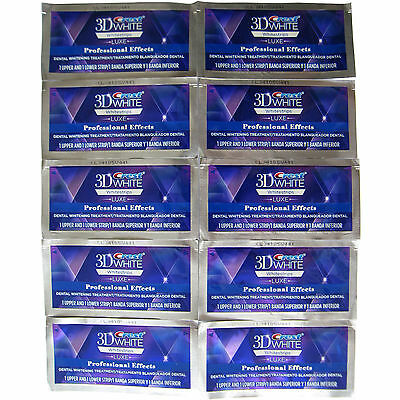 Crest 3D White Luxe Whitestrips Whitening Professional Effects 10 Pouch 20 Strip