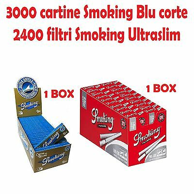3000 CARTINE SMOKING BLU CORTE<br />2400 FILTIRI SMOKING ULTRASLIM