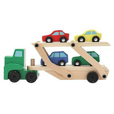 Melissa & Doug® Car Carrier Truck and Cars Wooden Toy Set With 1 Truck a...