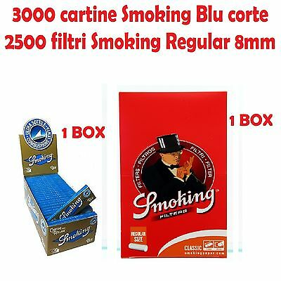 3000 CARTINE SMOKING BLU CORTE + 2500 FILTRI SMOKING REGULAR 8mm