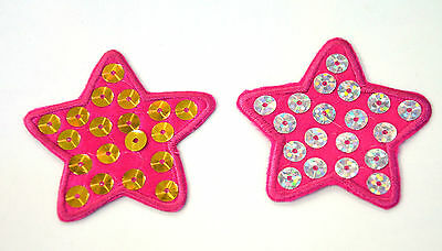 2PC PINK STAR SILVER GOLD SEQUINS Embroidered Sew Iron On Cloth Patch APPLIQUE