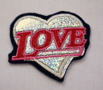 SPARKLY PINK LOVE HEART  Embroidered Sew Iron On Cloth Patch Badge APPLIQUE