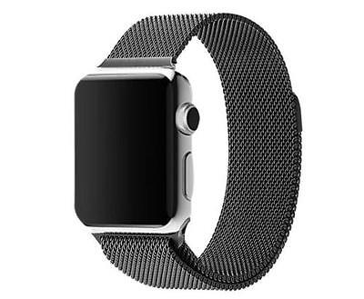 Milanese Magnetic Loop Stainless Steel Strap Black Bands For Apple iWatch 38mm