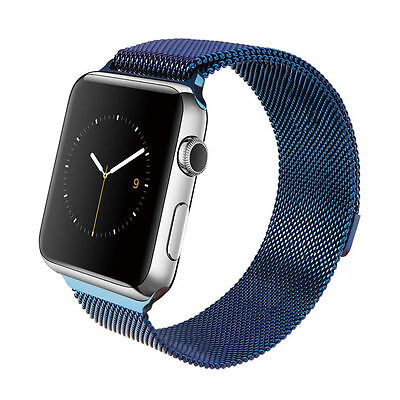 Milanese Magnetic Loop Stainless Steel Strap BLUE Bands For Apple iWatch 38mm