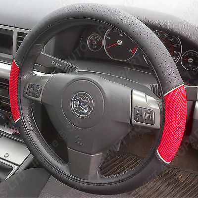 STEERING WHEEL COVER/GLOVE Black Leather Look/Red Mesh, Fits most Hyundai models