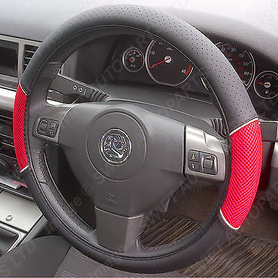 STEERING WHEEL COVER / GLOVE Black Leather Look/Red Mesh, Fits most Mazda models