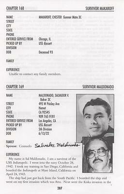 USS INDIANAPOLIS SURVIVOR ~ ONE of ONLY 317 ~ Sal Maldonado - Signed Book Page