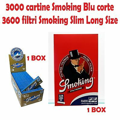 3000 Cartine Smoking Blu Corte + 3600 Filtri Smoking Slim  Extra Long Lunghi