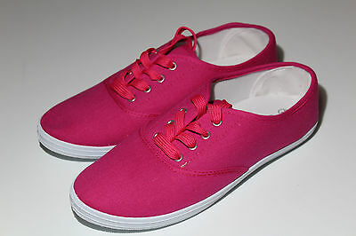 Ladies Womens Girls Pink Lace Up Flat Canvas Plimsoll Trainer Pumps UK Sizes 3-8