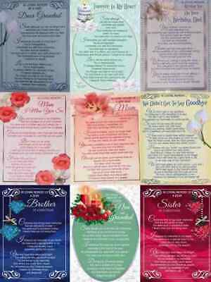 Various Plastic Grave In Loving Memory Memorial Remembrance Garden Tribute Card