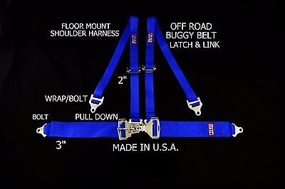 Rjs Racing  4 Pt Latch & Link Floor Mount Harness Buggy Belt Blue 50561-15-3