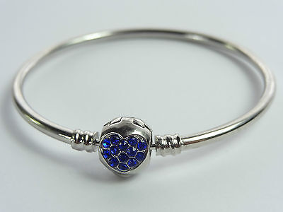 Girls Ladies Royal Blue Silver Plated Bangle  19Cm