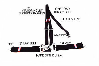 Rjs Racing 3 Pt Latch & Link Y Floor Mount Harness Buggy Belt Black 50561