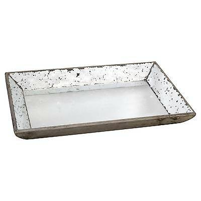 Vintage Finish Mirrored Glass Tray - 13x19.5""