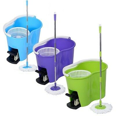 Magic Spin Mop Microfiber Spining W/Bucket 2 Heads 360° Rotating Floor Mop Easy