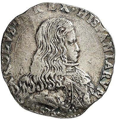 *Lucernae* Very scarce silver ducatone, Spain king Carolus II. 1676. Milan. VF+