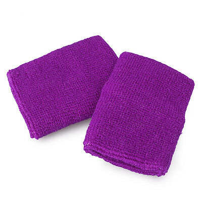 10 Pack Unisex Purple Wristbands Elastic Terry Wrist Sweatband Sports Support