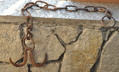 Antique Medieval Wrought Iron Meat Hanging Double Hook Blacksmith Chain Forged