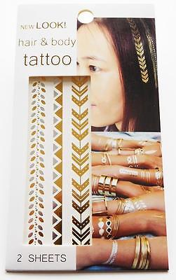 Metalic Gold and Silver Temporary Hair Tattoo Body Art 2 Sheets Tattoos