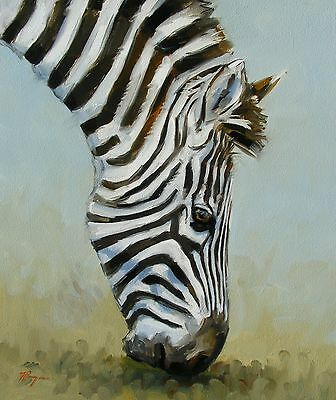 Original Oil painting - wildlife art - zebra portrait - by j payne