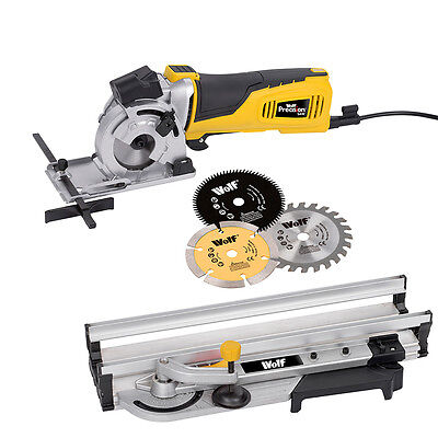 Wolf Precision Plunge Mini Exact Circular Saw 600w 89mm Laser Guide Mitre Base