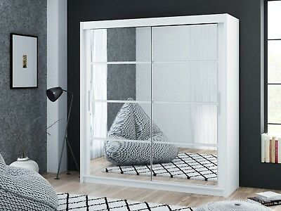 Brand New Modern Bedroom Sliding Door Mirror Wardrobe DAKO-DAKOTA-WHITE