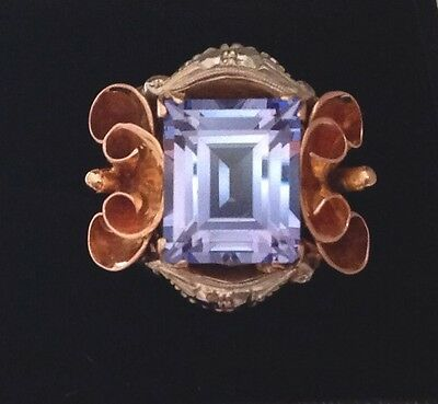 Stunning Vintage Very Large Heavy 18Ct Yellow & White Gold Blue Topaz Ring