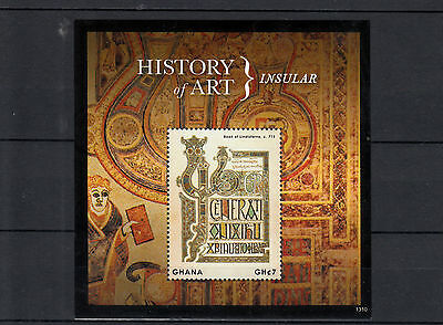 Ghana 2013 MNH History of Art Insular 1v S/S Book of Lindisfarne 715 Stamps