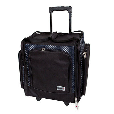 Deluxe Wheelable Craft Tote Trolley Case Black 'Liquorice Dot' Hobby Storage
