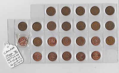 24x Canada 1 One Cent Penny Coin 1940 - 1976 Coins Pennies Canadian Centennial
