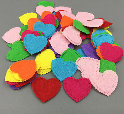 100X Heart-shape Die Cut Felt Mixed Colors Appliques Cardmaking decoration 26mm