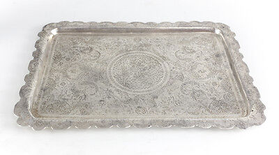 "Persian Solid Silver Hand Engraved 13"" Rectangular Serving Tray, c1910"